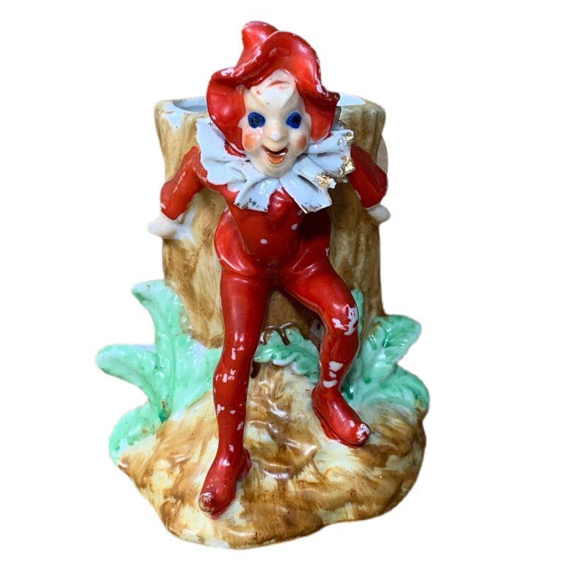 "Occupied Japan Red Pixie Elf W/Tree Trunk Vintage Ceramic Planter 4.75"""