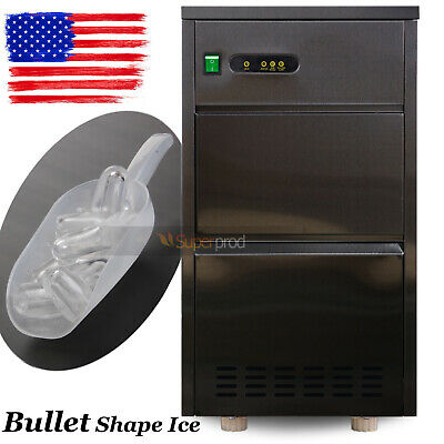 60 Lbs Commercial Auto Electric Clear Bullet Ice Maker Countertop Machine Black