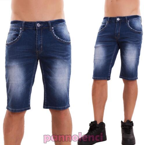 pantalones cortos vaqueros de hombre pitillo ajustado bermudas ... 1e267032bbe8