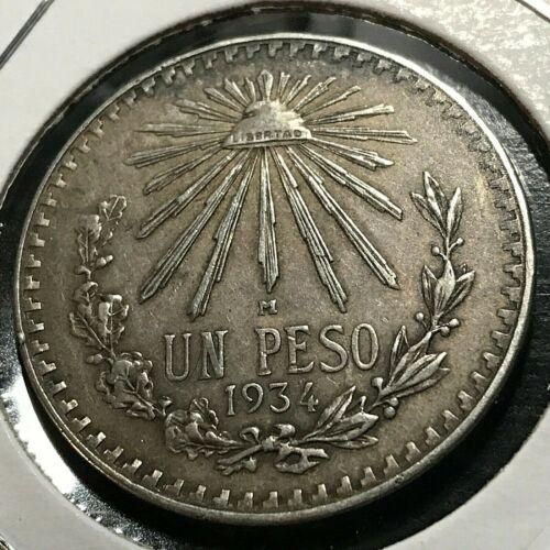 MEXICO 1934 SILVER PESO HIGH GRADE  COIN
