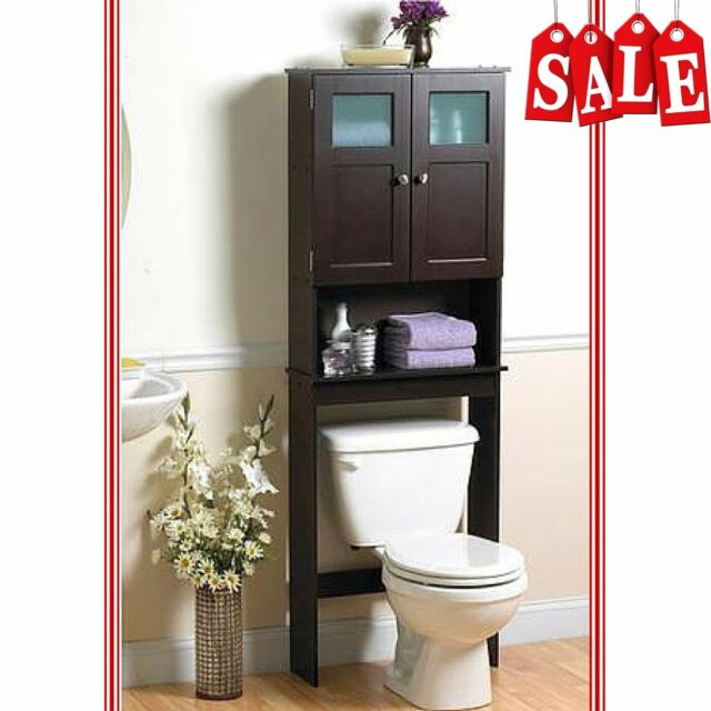 bathroom storage cabinet organizer over the toilet shelf space saver espresso