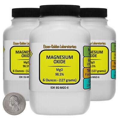 Magnesium Oxide Mgo 98.5 Usp Food Grade Powder 1.1 Lb In Three Bottles Usa
