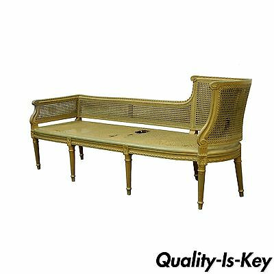 Antique French Louis XVI Style Caned Chaise Lounge Recamier Fainting Couch Sofa