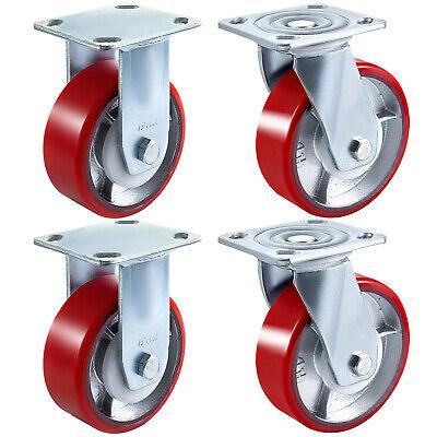 6 X 2 Polyurethane 2 Rigid Amp 2 Swivel Casters 1000lbs Each Wear-resistant