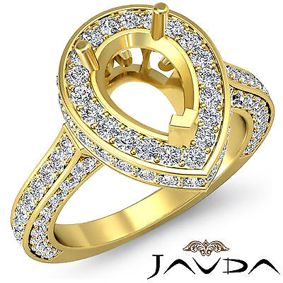 Diamond Engagement Filigree Ring Pear Semi Mount Halo Pave 14k Yellow Gold 1.6Ct