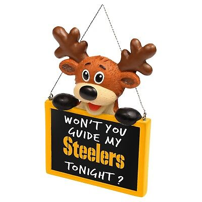 Pittsburgh Steelers Reindeer with Sign Resin Holiday Christmas Tree Ornament - Steelers Ornaments