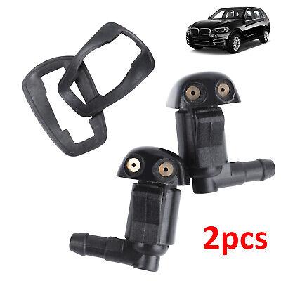 2Pcs Car Front & Rear Windscreen Windshield Washer Wiper Nozzle Window Spray Jet