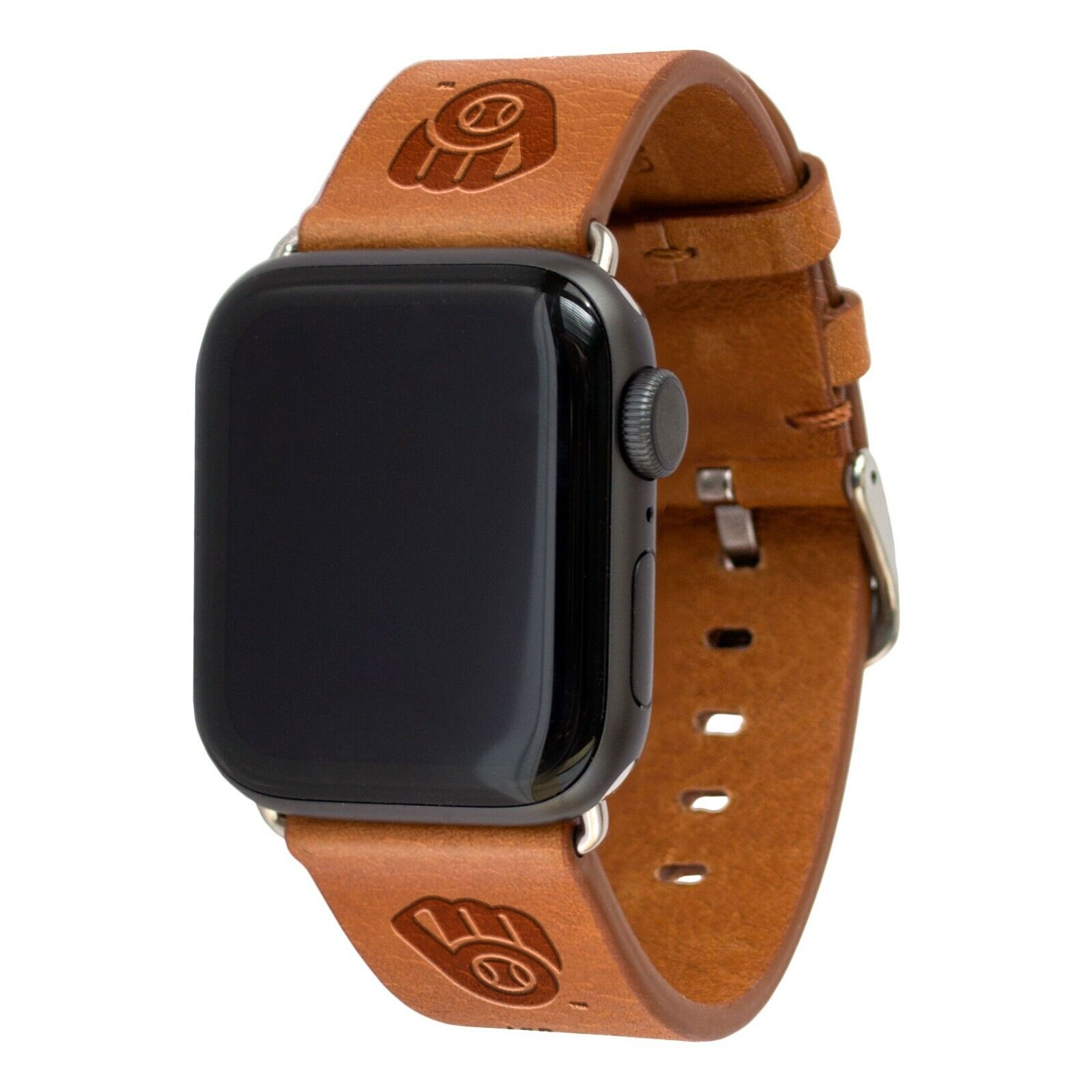 Milwaukee Brewers Premium Leather Apple Compatible Watch Ban