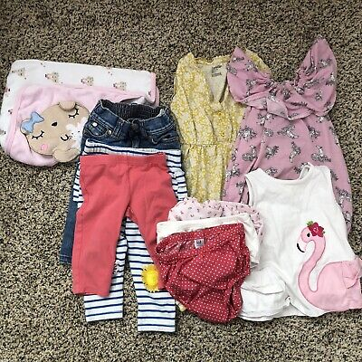 10 Piece Lot Of Baby Girl Clothes 3-6 Months 6-12 Months Pants Tank Romper Towel