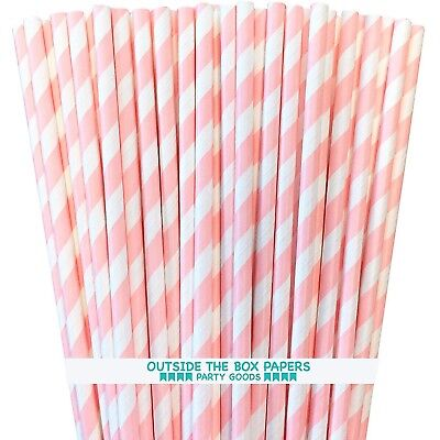 Paper Straws - Light Pink and White Stripe - 50 Pack - Outside the Box Papers - White Straws