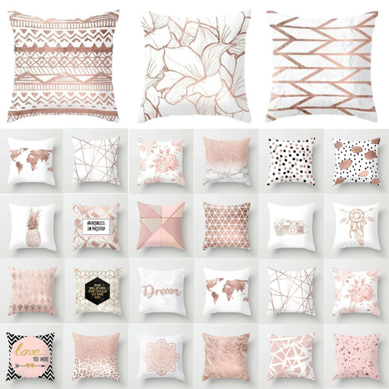 Sofa Couch Pink Throw Cushion Pillow Cover Case Modren Home