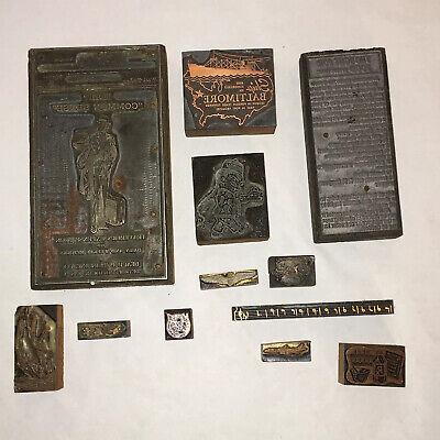 Lot Of 12 Vintage Printing Press Metal Faced Printing Blocks