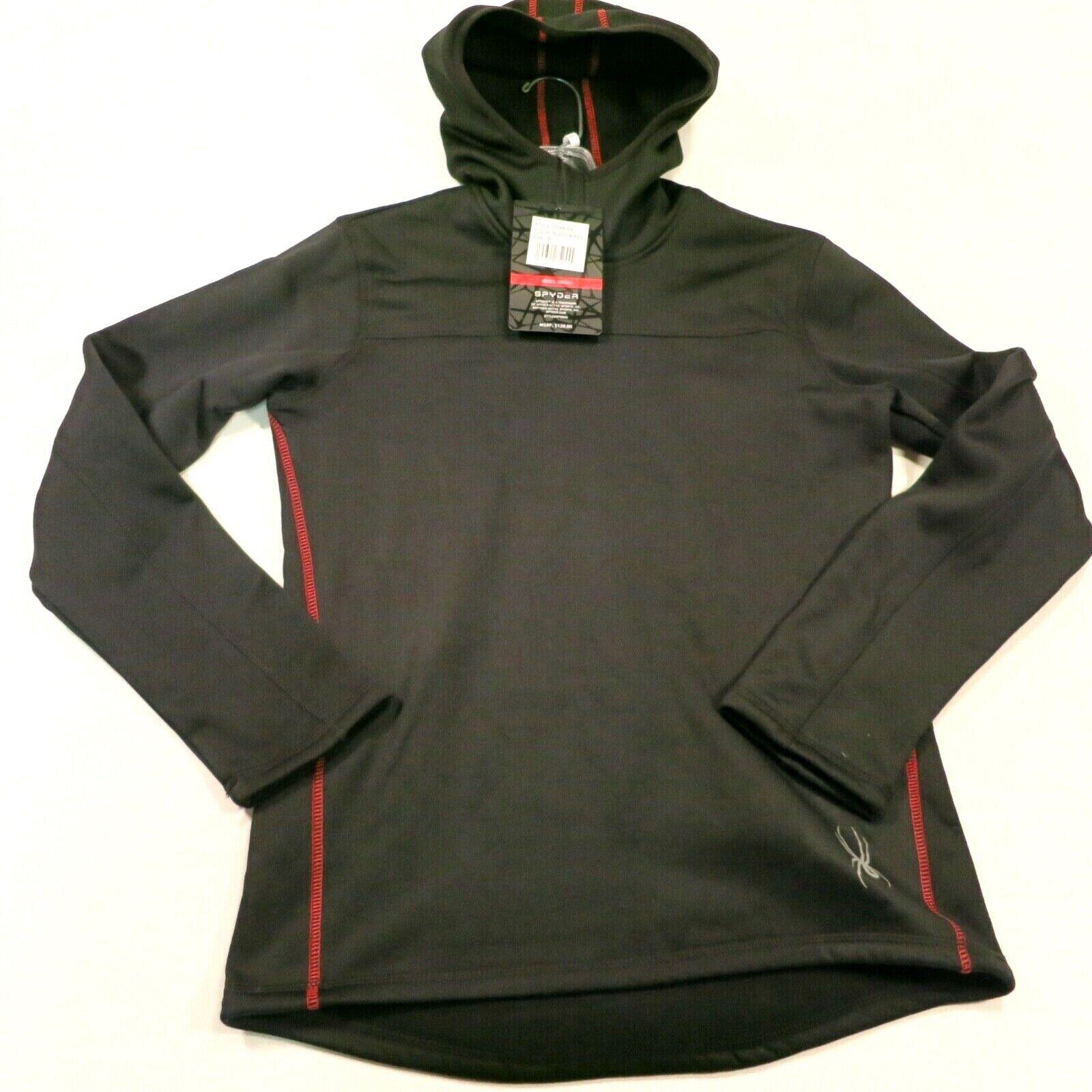 $120 Men's Spyder Mogul P/O Fleece Hoodie Size Small Black/R