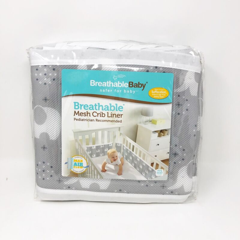 New BreathableBaby Classic Breathable Mesh Crib Liner - Peaceful Elephant Gray