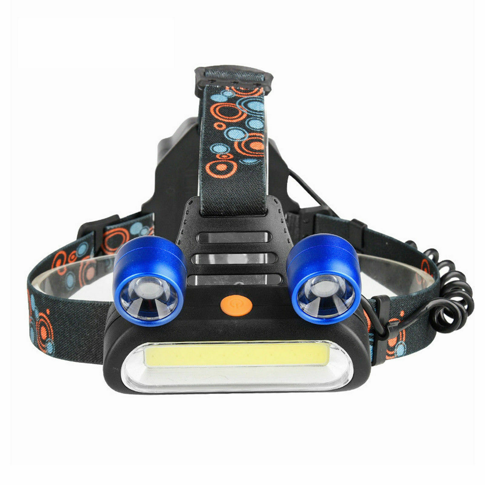 1800LM 2 x XM-L T6 LED COB USB Rechargeable Headlamp Head Light Flashlight Torch Camping & Hiking