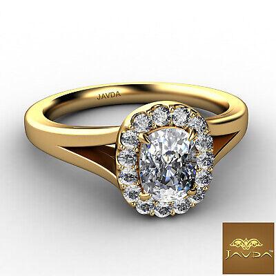 Halo Split Shank French U Pave Cushion Diamond Engagement Ring GIA G VS1 0.7 Ct 5