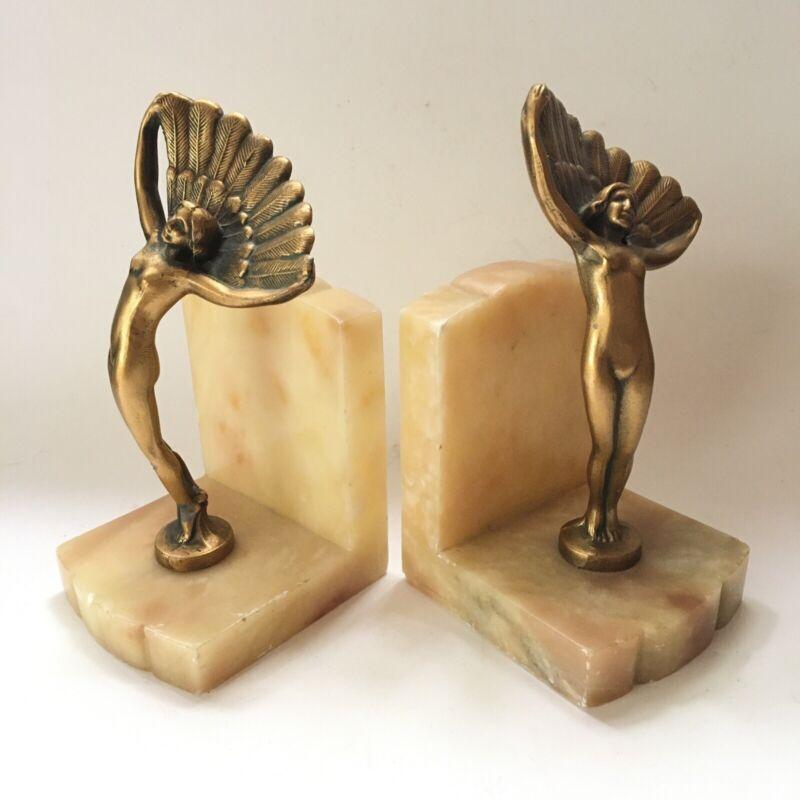 Vintage Rare Frankart Nuart Art Deco Nude Nymph Goddess Bookends
