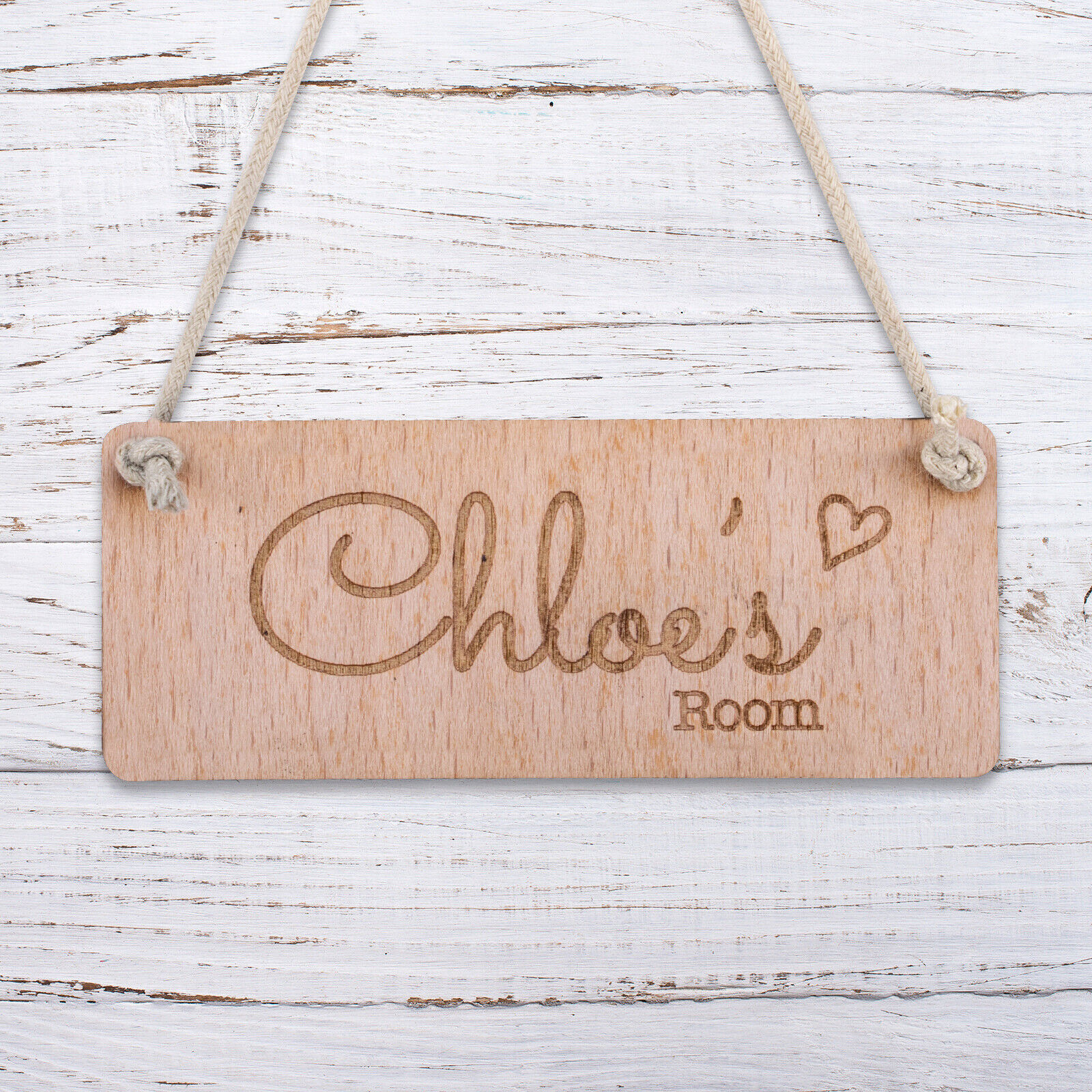 Details about Personalised Wooden Door Signs Shabby Chic Hanging Plaques  Custom Name Date
