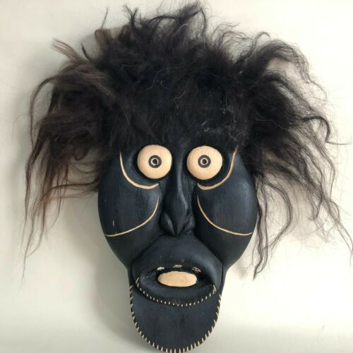 GREENLANDIC Arts Crafts 2004 ILULISSAT Mask Carved H Petersen Black Stained Wood
