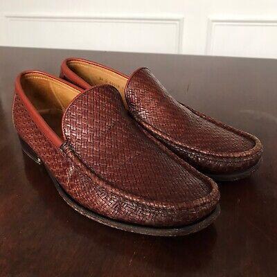 Allen Edmonds Mens Size 9.5 Roma Woven Slip On Brown Leather -
