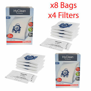 Genuine Miele GN HyClean 3D Vacuum Cleaner Hoover Dust Bags x8 & 4 x Filters