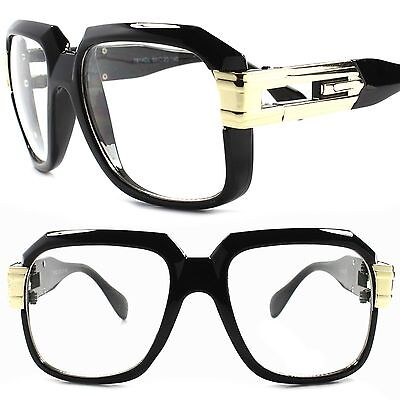 Classic Retro 80s OG Hip Hop Urban Fashion Oversized Square Black Clear Glasses