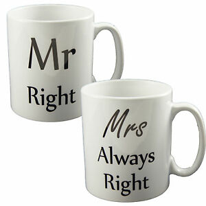 mr right mrs always right mugs perfect novelty gift cup. Black Bedroom Furniture Sets. Home Design Ideas