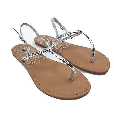 Qupid Athena Women's Thong Sandal Silver Size 6 Shoe