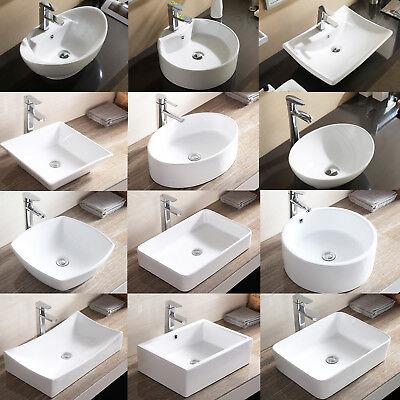 Porcelain Ceramic Vessel Bathroom Sink Basin with Pop Up Drain Combo White