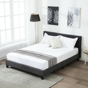 Full Size Platform Bed Frame Upholstered Gray Linen Headboard With Wood Slats