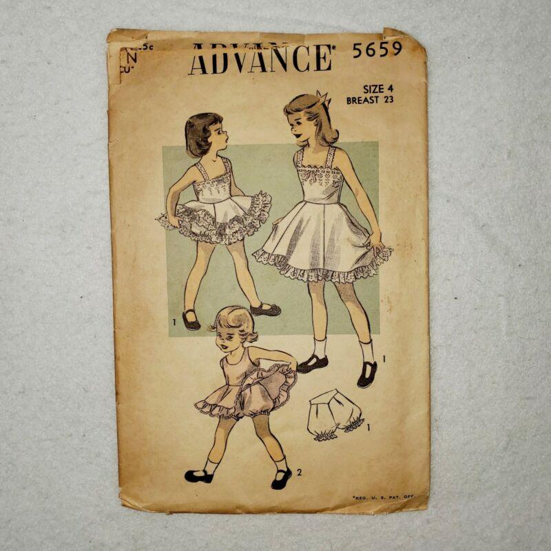 Vintage Advance Sewing Pattern 5659 Girls Dress Bodice Skirt Ruffles Size 4