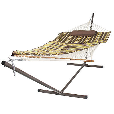 Cotton Rope Hammock & 12 Feet Steel Stand Combo w/ Stripe Pad and Pillow
