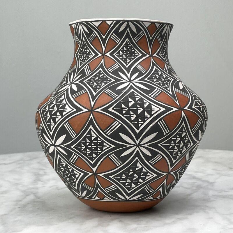 Vintage Acoma Polychrome Pottery, Signed N. Lucero