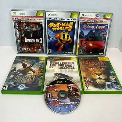 Lot of 7 Original XBOX Games Rainbow Six, Medal of Honor, Pacman, Narnia, Racing