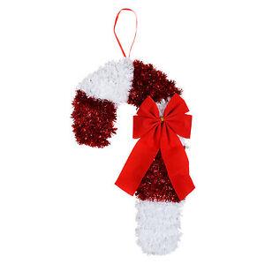 Large Tinsel Christmas Candy Cane Xmas Crimbo Decoration Festive Plaque Wall New