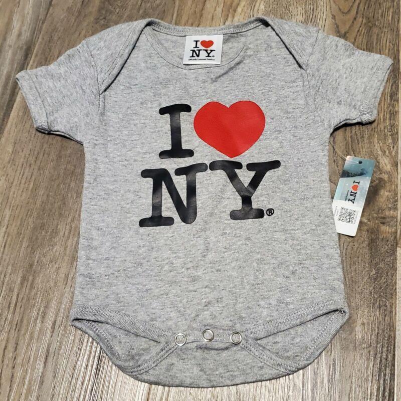 I Love NY New York Baby Infant Screen Printed Heart Bodysuit Gray 0-6m