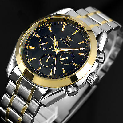New Automatic Watch Date Black Stainless Steel Band Mens Mechanical Analog Wrist