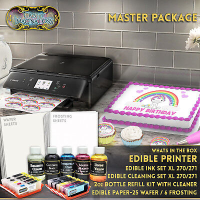 Edible Canon LCD Printer Bundle Combo Sheets Ink Cartridge Refills Cleaning Kit
