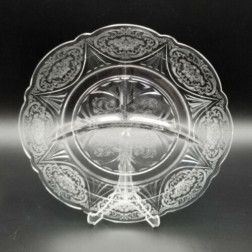 """Vintage Hazel Atlas Clear Glass ROYAL LACE  Divided Grill Plate 10"""""""