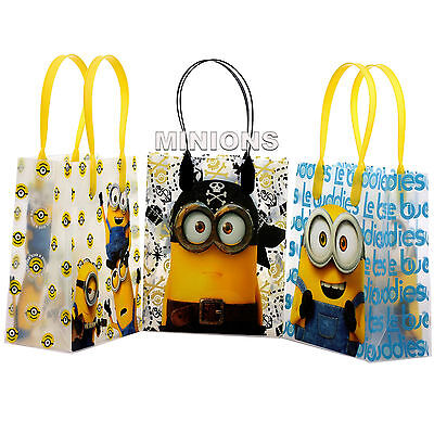 6 Pcs Despicable Me Minions Licensed Small Party Favor Goodie Loot Bags  - Despicable Me Party Bags