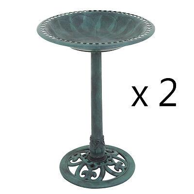 2PCS Antique Green Pedestal Freestanding Bird Bath Feeder Outdoor Garden Decor