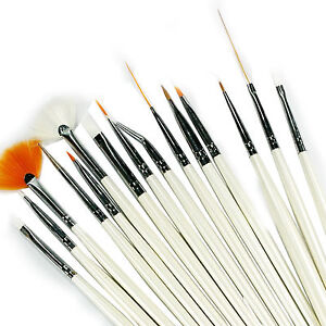 15-Pcs-Nail-Art-Design-Brush-Set-Painting-Pen-White-Z017-UK