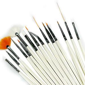15-Pcs-Nail-Art-Design-Brush-Set-Painting-Pen-White-Z017-UK