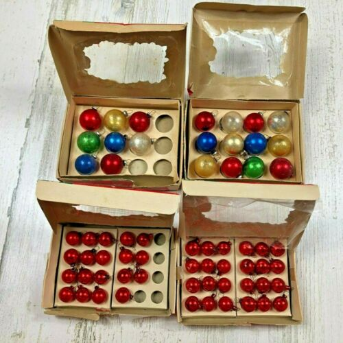 Four Boxes VTG Miniature 60 Total Glass Christmas Tree Ornaments Made in Japan