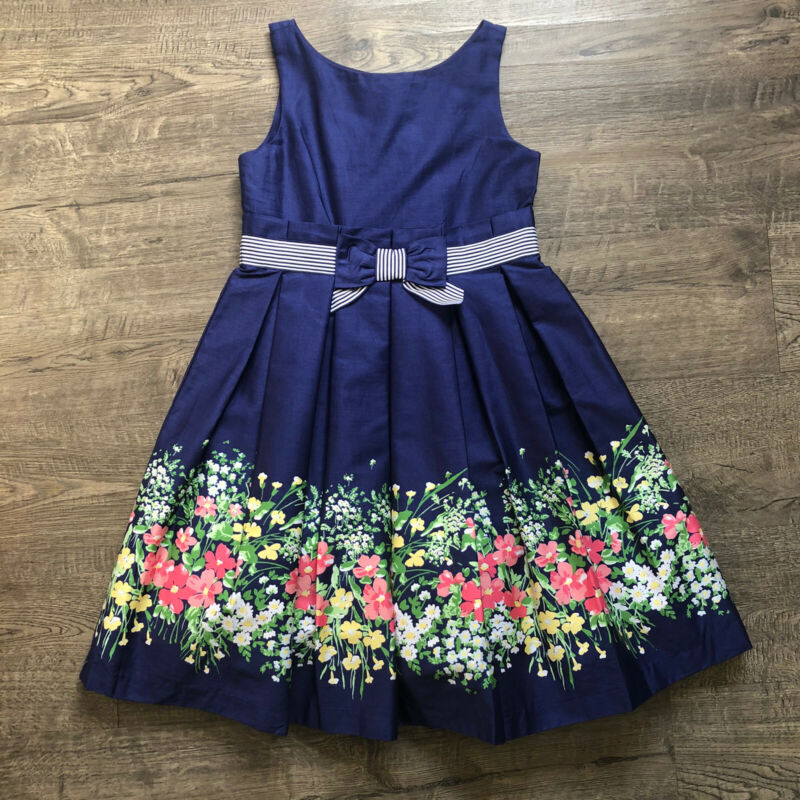Janie & Jack Girls Size 6 Enchanted Valley Navy Blue Floral Dress