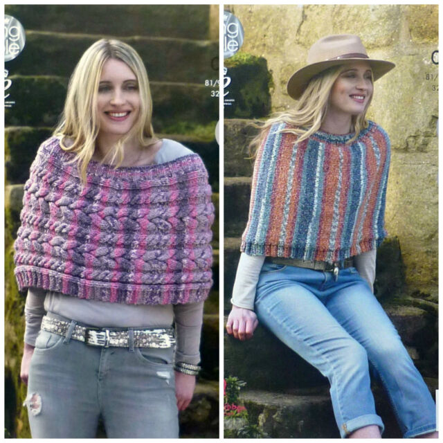 KNITTING PATTERN Ladies Easy Knit or Cable Short Poncho Chunky King Cole 4604