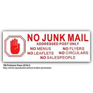 No Junk Mail,Leaflets,Menus,Flyers,Circulars,Salesman-Letterbox Sticker Sign