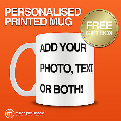 PERSONALISED MUG PRINTED PHOTO TEA COFFEE SOUP YOUR PHOTO TEXT IMAGE DESIGN GIFT