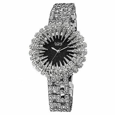 Women's Burgi BUR054BK Glitter Effect Dial Sparkling Crystal Bezel Dress Watch