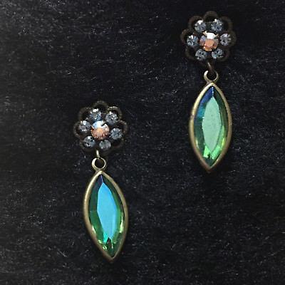 Vintage~Sorrelli Swarovski Crystal Antiqued Brass Post Drop Earrings~ Blues